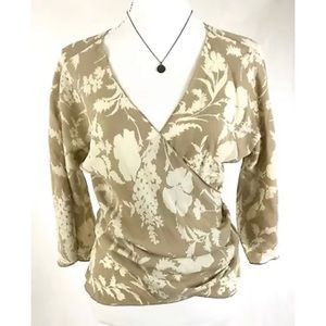 NWT THE LIMITED Silk Floral 3/4 Sleeve Wrap Blouse